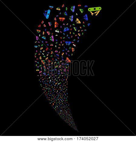 Universal Army Knife random fireworks stream. Vector illustration style is flat bright multicolored iconic symbols on a black background. Object fountain done from scattered pictograms.