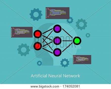 Artificial neural network abstract concept illustration. Deep learning. Data mining