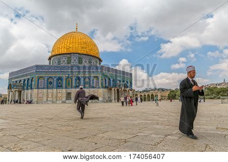 JERUSALEM, ISRAEL - MAY 23, 2016: Visitors at the Dome of the Rock, Islamic shrine located on the Temple Mount in the Old City.
