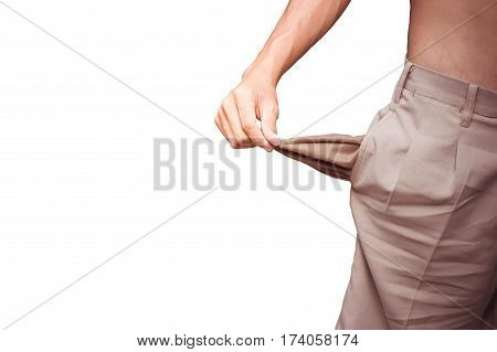 Close up of man turning his empty pockets inside out for bankruptcy concept