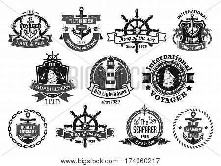 Nautical heraldic emblem set. Marine anchor, helm, sailing ship, compass and lighthouse, framed by rope, chain and shield with ribbon banner and star. Sailor and yacht club badge, symbol design