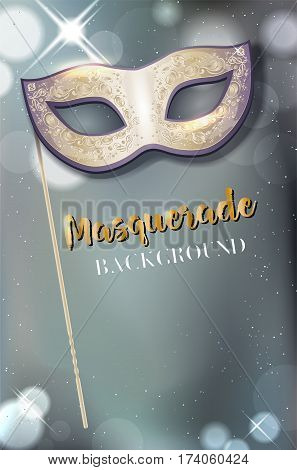 Carnival Mask With Handle On Shiny Background With Copy Space