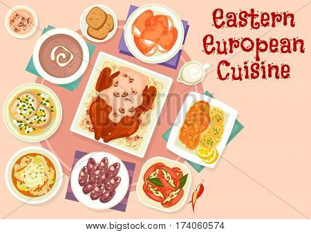 Eastern european cuisine festive dishes icon of sausages stuffed with pickles, fried and boiled fish, beef tripe soup, baked duck with mushroom sauce, rye bread soup, pork head cheese, bun with cheese