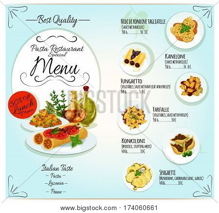 Italian pasta restaurant menu template design. Spaghetti, penne and farfalle pasta with vegetable, mushroom and basil sauce, stuffed cannelloni and lasagna with meat, cheese and tomato sauce