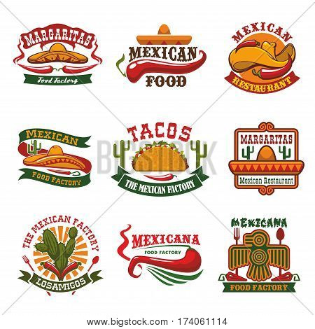 Mexican cuisine restaurant and fast food cafe emblem set. Taco with vegetable, meat fillings and hot red chilli pepper symbols with sombrero hat, tribal mexican bird, cactus and ribbon banner