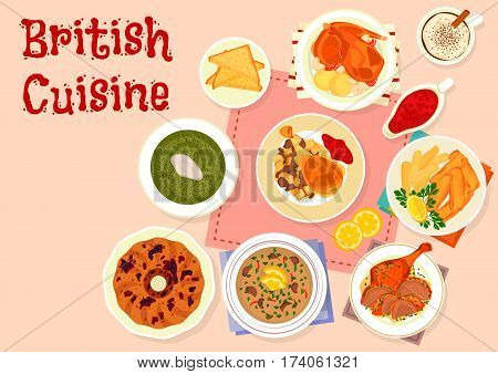 British cuisine traditional dinner menu icon of baked turkey with cranberry sauce, fried fish and potato, baked rabbit, duck with mint sauce, beef kidney soup, raisins cake, sorrel cream soup
