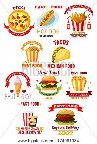 Fast food restaurant and takeaway lunch meal symbol set. Burger, hamburger, pizza, coffee and soda drinks, hot dog, cheeseburger, french fries, taco, ice cream, popcorn and onion rings emblems design