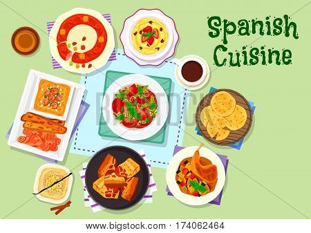 Spanish cuisine dinner menu icon with tomato bread soup, fried pork belly, vegetable stew, tomato asparagus salad, corn porridge with almond, pie with dried fruit, sweet flatbread, egg yolk dessert