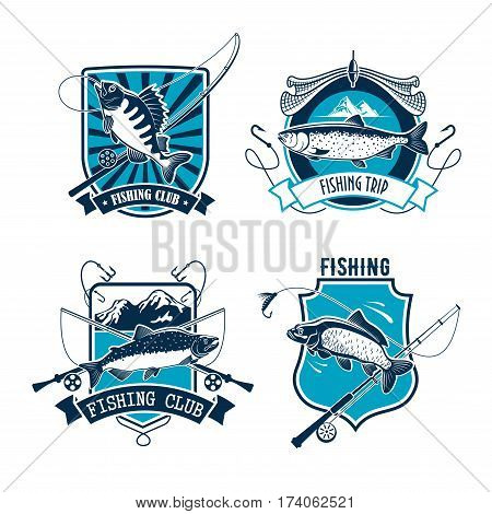 Fishing sport club heraldic badge set. Salmon, carp and perch fish with fishing rod, net and hook on shield with ribbon banner. Fishing sport, fishery, outdoor recreation themes design
