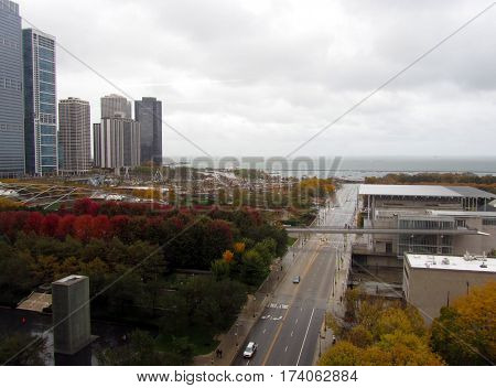 Grant Park Chicago and Millenniu Park Chicago, Illinois Aerial View Art Institute Fall Foliage