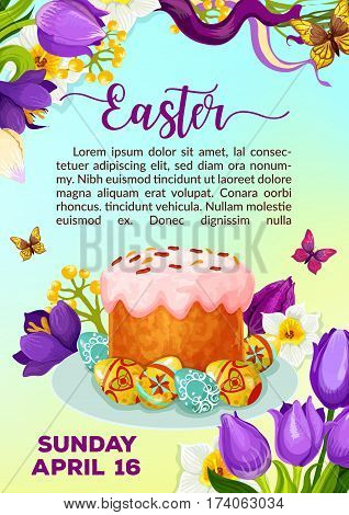 Easter poster of paschal cake or kulich paska and eggs. Vector Resurrection Sunday invitation or greeting card template. Symbols of springtime tulip flowers, butterflies and April snowdrops