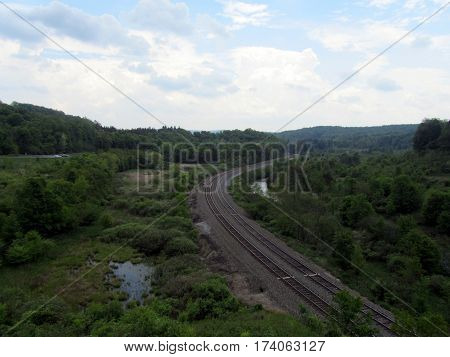 Train Tracks beside the Conemaugh River at former sight of South Fork Dam and Lake Conemaugh where the Johnstown Flood began