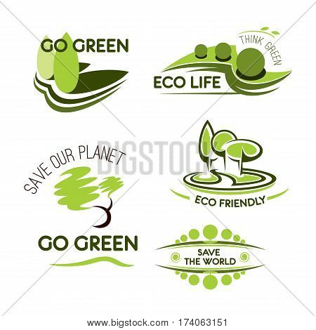 Ecology, nature and environment icon set. Eco green plant, leaf and tree symbols for Go Green, Eco Friendly lifestyle, Save the world themes design