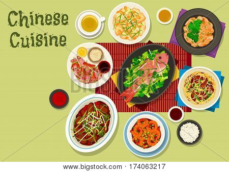 Chinese cuisine festive dinner icon of fried noodles with ham, tomato chilli prawn, peking duck salad, chicken with ginger sauce, cashew chicken, steamed fish with cabbage, beef with oyster sauce