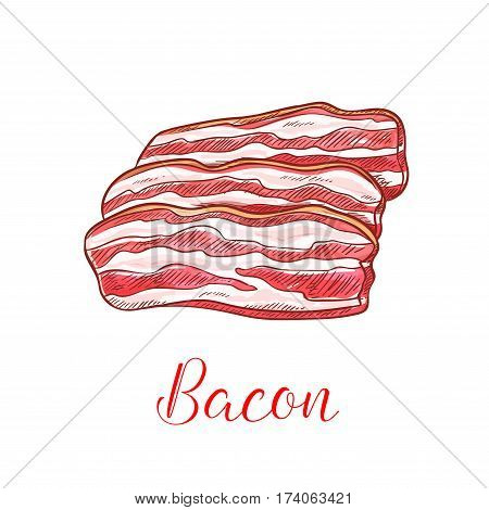 Bacon strip isolated sketch. Smoked pork belly meat thin slices for breakfast menu, butcher shop or bbq party design