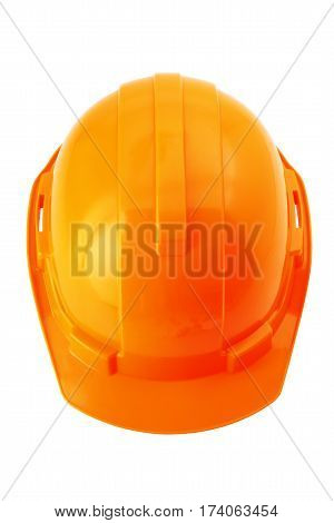 Top view of orange safety helmet hard hat isolated on white background with clipping path.