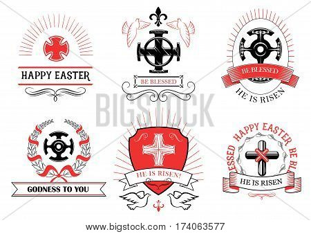 Easter greeting and crucifix cross with paschal he is risen, be blessed and Happy Easter text for Resurrection Sunday design. Vector icons of Christian catholic or orthodox church symbols