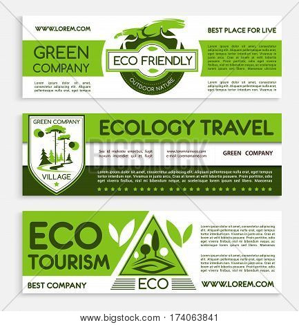 Travel and ecotourism banner template set. Ecology responsive travel agency flyer, poster, business card with green nature landscape and eco badges. Eco friendly lifestyle themes design