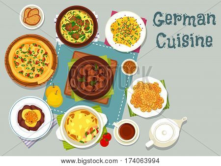 German cuisine meat dishes icon with pork beef stew, mustard potato, bacon cheese pie, vegetable sausage casserole, noodle brussel sprout soup, liver with apple onion sauce, almond cookie