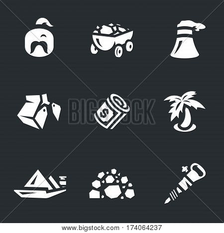 Man, truck, bucket, money, palm, barge, ore, hammer.