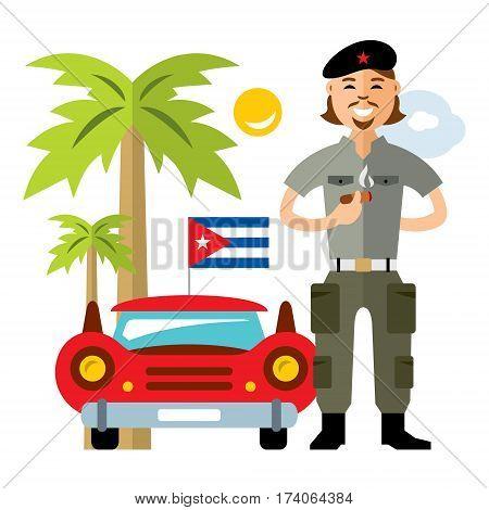 Cuban revolutionary near retro car. Isolated on a white background