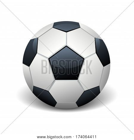 Realistic soccer ball isolated white vector illustration. Equipment for football game illustration