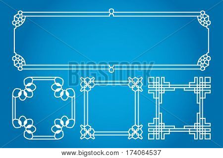 Square and rectangle vector asian, korean, chinese, japanese. Traditional design illustration