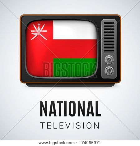 Vintage TV and Flag of Oman as Symbol National Television. Tele Receiver with Omani flag