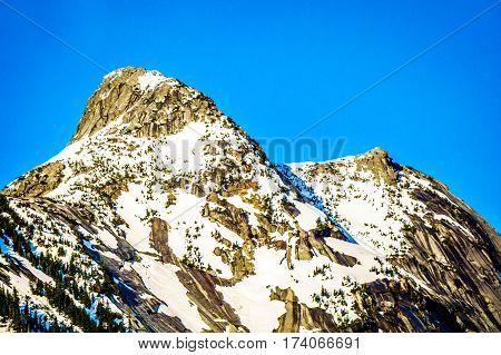 The Granite Peak of Yak Mountain in the Cascade Mountain Range near the Coquihalla Summit seen from the Coquihalla Highway in British Columbia, Canada