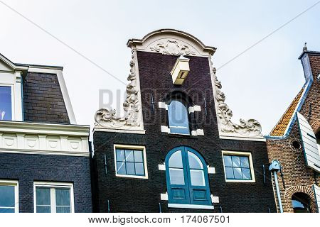 Neck Gables of Historic Dutch Canal Houses in Amsterdam, the Netherlands