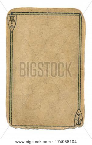 empty used ace of cross playing card grunge background with two lines and sign