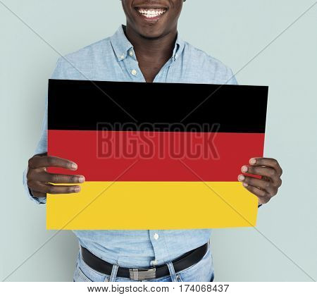 Man Hands Hold Germany Deutschland Flag Patriotism