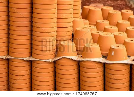 empty terracotta pots Stacked on top of each other