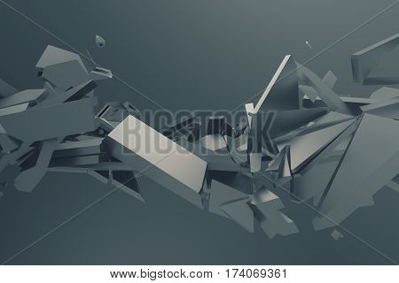 Abstract 3d rendering of cracked surface. Background with broken grey shapes. Wall destruction. Bursting with debris. Modern cgi illustration.