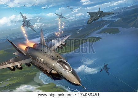 digital illustrated missile aircraft fighting scene in air sky