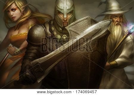 classical fantasy character digitally illustrated, elf, knight, and magician