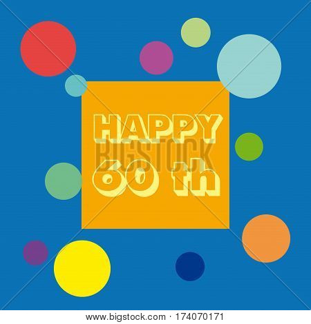 Vector 60 anniversary background. Celebrate the birthday. in blue