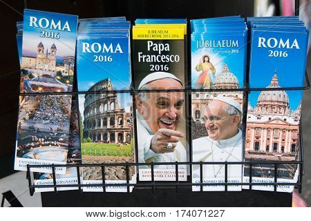 ROME Italy - november 24 2015: 2016 calendars for sale in Rome with photos of Pope Francis and views of Rome on the occasion of the jubilee.