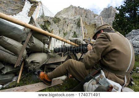 Cortina d'Ampezzo Italy - July 24 2005: Commemoration of the First World War. On the Italian Alps with actors dressed in historical uniforms and weapons of the Italian army.