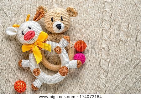 Concept of forex or stock market education. Bull and bear toys for toddlers with copy space for your text.