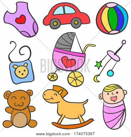 Illustration vector of baby object set collection stock