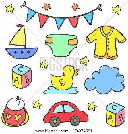 Collection stock of baby element set vector art