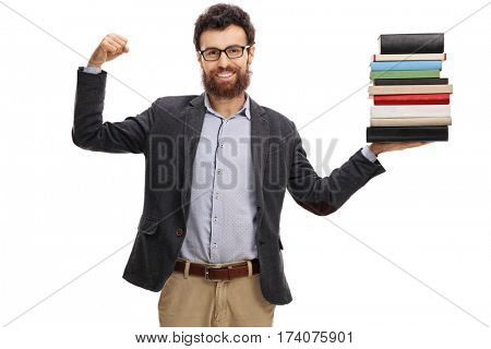 Happy teacher flexing his biceps and holding a stack of books isolated on white background