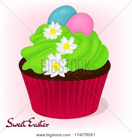 Yummy cupcake for Easter with chamomiles flowers and eggs. Holiday background, poster or placard template in simple cartoon style. Vector illustration. Holiday Collection.