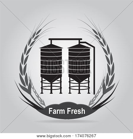 Agricultural Silo and wheat icon, silo sign illustration
