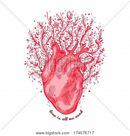 Anatomical heart with flowers. tagline love is all we need. Valentines day card. Vector illustration, elements design, tattoo