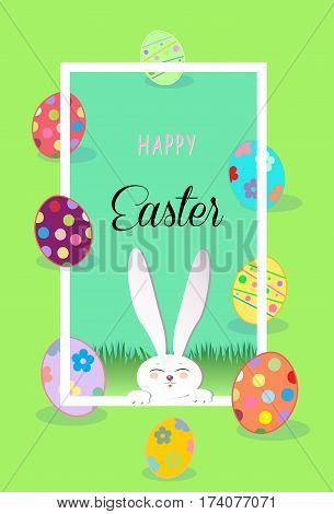 Happy Easter Holiday poster. Cute Easter Rabbit and Easter eggs, frame. Easter Bunny. Greeting card background. Cute Rabbit Flat. Poster. Frame Vector Illustration
