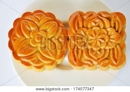 moon cake Chinese tradition dessert in festival on dish