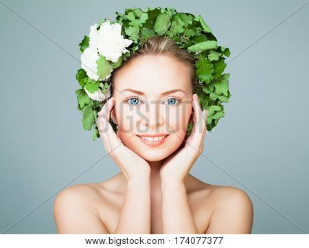 Perfect Woman Wearing Green Leaves Wreath on Blue Banner Background