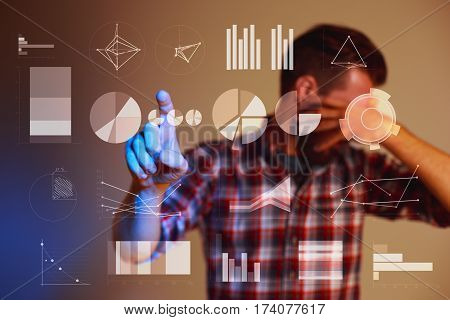 Abstract concept of business success, growth and globalization, businessman touching growing graph andearth globe. Concept mistakes and disappointments